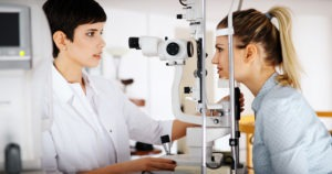 Patient eye vision examination checks for glaucoma