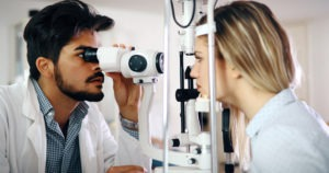 Doctor checking the patient for glaucoma